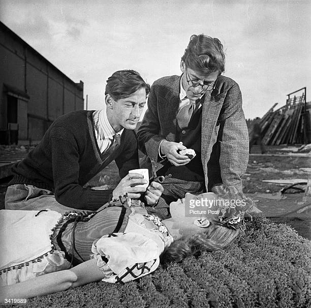 Film-making twins Roy Boulting and John Boulting directing a young Honor Blackman in the Two Cities film 'Fame is the Spur'. Original Publication:...