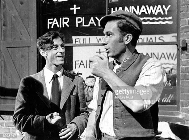 Roy Boulting directs Bernard Miles on the set of the Two Cities film 'Fame Is The Spur', which shows the rise to political eminence of a working...