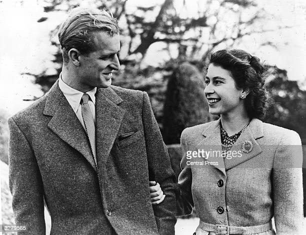 Official photograph of Princess Elizabeth and her husband on honeymoon at Broadlands Romsey Hampshire