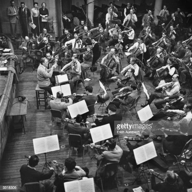 German born conductor and composer Otto Klemperer conducting the New Philharmonia Orchestra and soloists, recording Beethoven's Choral Symphony at...