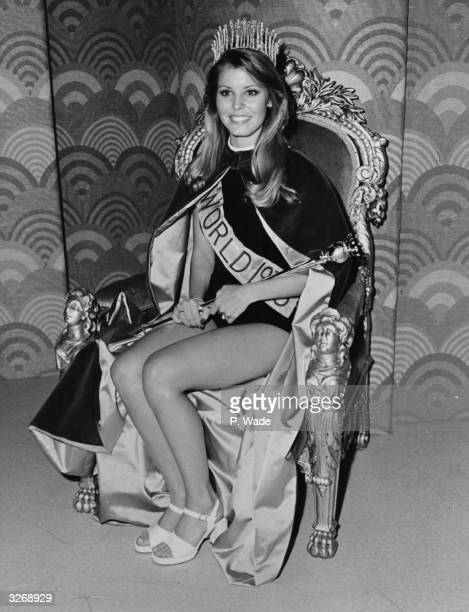 Miss World 1973 Marjorie Wallace Miss USA at her investiture at the Royal Albert Hall London