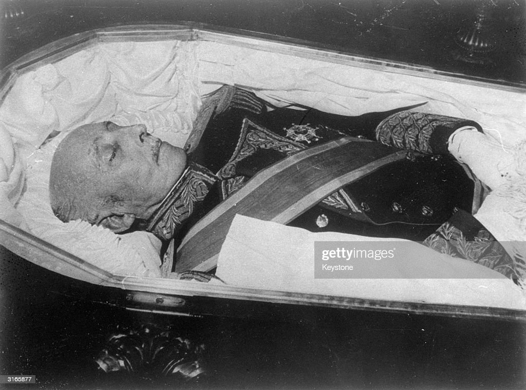 Spanish military leader and governor from 1939 General Francisco Franco (1892 - 1975), lying in state.