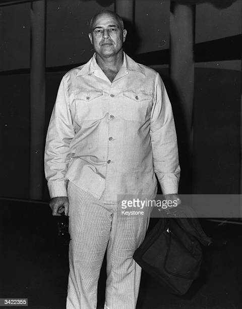 American method actor Marlon Brando arrives in Australia after completing Francis Ford Coppola's film 'Apocalypse Now'