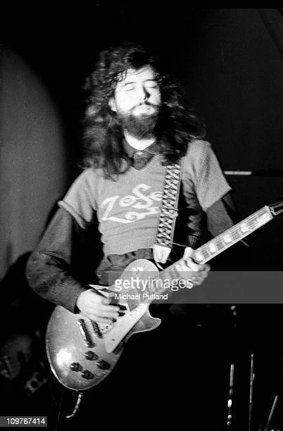 Guitarist Jimmy Page of British rock band Led Zeppelin performing on stage at the Wembley Empire Pool in London England on 23rd November 1971