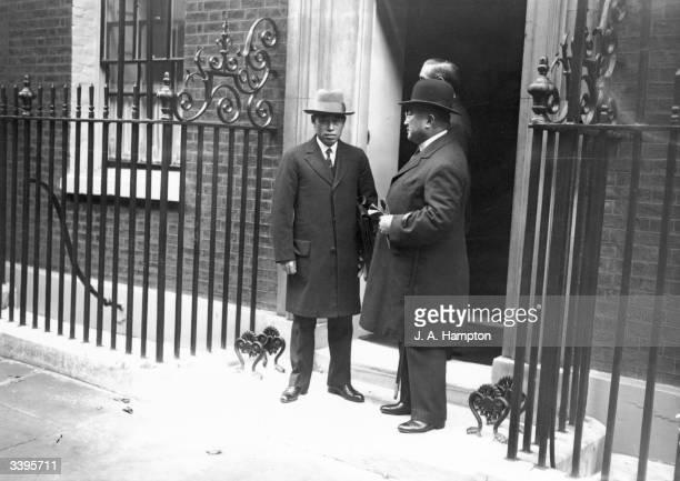 Real Admiral Isoroku Yamamoto with Japanese Ambassador Tsuneo Matsudaira outside No 10 Downing Street London during negotiations between Great...