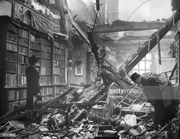 The library at Holland House in Kensington London after being extensively damaged by a firebomb