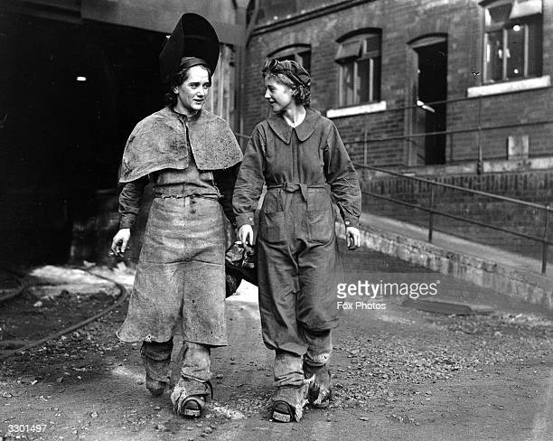 British female iron and steel workers J Dobson and J Feirn recruited during World War II at the Iron and Steel Co Park Gate Rotherham