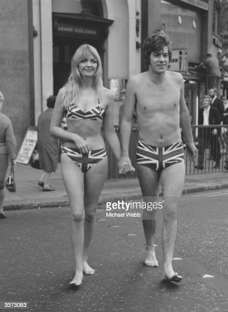 Two models wearing Union Jack swimwear in London to promote tourism to Gibraltar