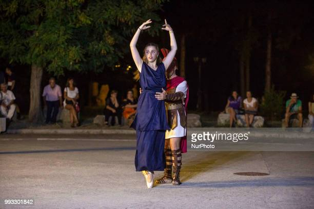 23rd Prometheia festival in Litochoro Greece Torchlight procession to celebrate the ancient Greek gods at the foothills of Mount Olympus The...
