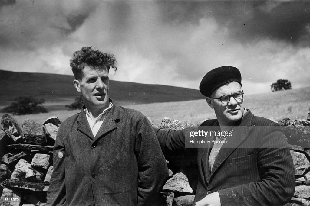 Two farmers from the Catlow region of Lancashire, England. Original Publication: Picture Post - 5124 - Country Of The Dales - pub. 1950