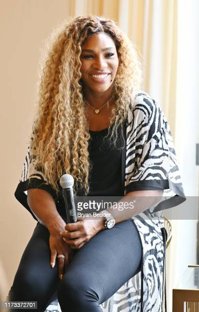 Time Grand Slam Champion, Olympian & Designer Serena Williams speaks during 'Real Talk with Two Female Champions Inspiring the Next Generation' as a...