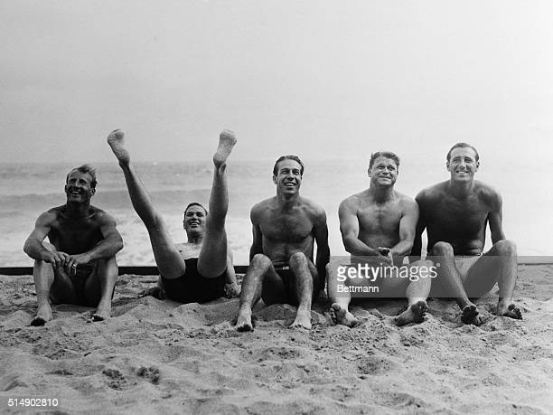 These five stars of te big league were pictured at the Deaville Cabana Club at Miami Beach FL where they were preparing for the training season to...