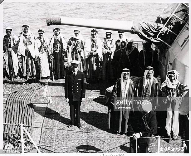 Members of entourage of King Ibn Saud of Saudi Arabia on board US Navy warship at Cairo during conference between King Saud and President Roosevelt...