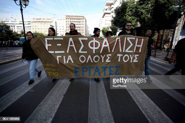24hours strike in Athens Greece on January 12 2018 by Greek Unions against changes to labour law and new austerity measures
