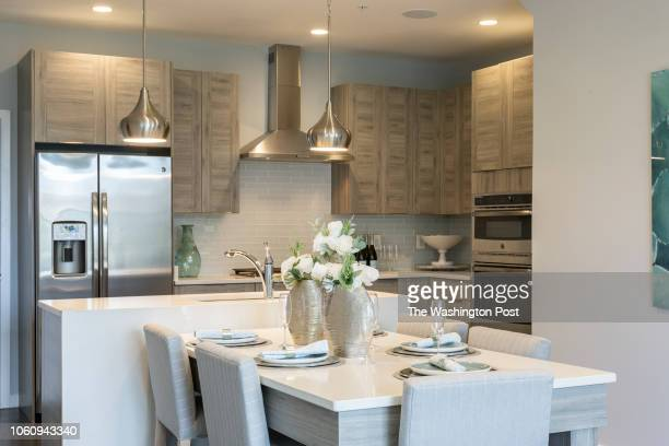 Kitchen and Dining area in the Hayes model home at Loudon Valley The Carlisle on October 24 2018 in Ashburn Virginia