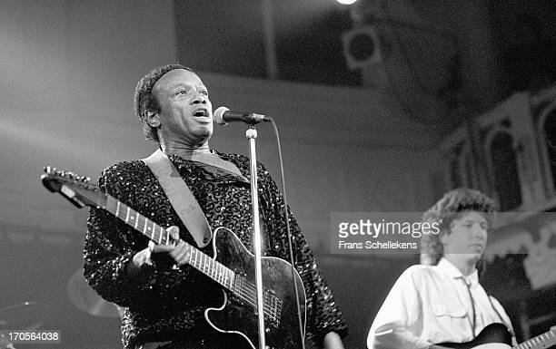 24th: American musician Bobby Womack performs live on stage at the Paradiso in Amsterdam, Netherlands on 24th November 1988.