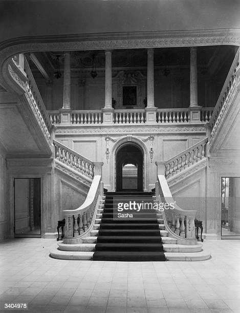 The stairway to Lady Louis Mountbatten's London flat. Edwina Cynthia Annette, Countess of Mountbatten, nee Edwina, Countess of Ashley. She married...