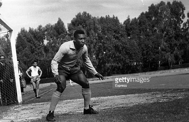 Brazilian World Cup star Pele said by many to be the greatest footballer of all time during a training session