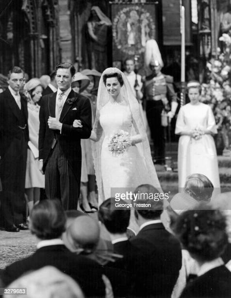 Princess Alexandra of Kent and Angus James Ogilvy on their wedding day at Westminster Abbey London