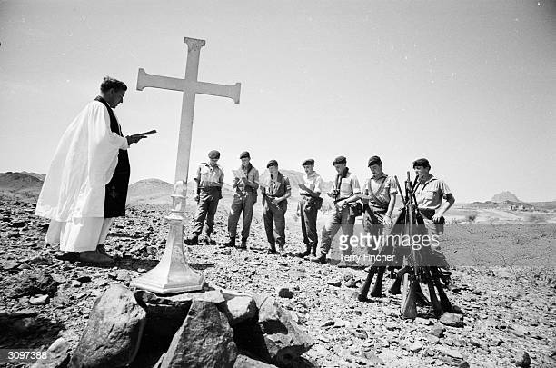 The Reverend Raymond Roberts conducting a prayer service for a British Army patrol in Aden