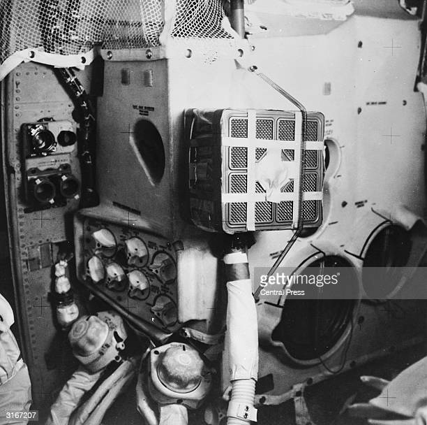 The interior of the Apollo 13 lunar landing craft Aquarius which met with disaster when an oxygen tank ruptured during its flight The astronauts Fred...