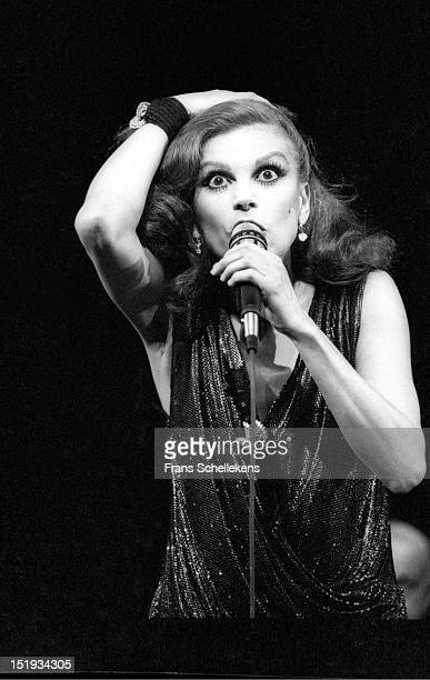 24th APRIL: Italian singer Milva performs live on stage at the Carré in Amsterdam, Netherlands on 24th April 1987.