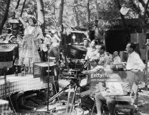 Hollywood director Fred Niblo filming Joan Crawford in a scene for the fairy tale romance 'Dream of Love'