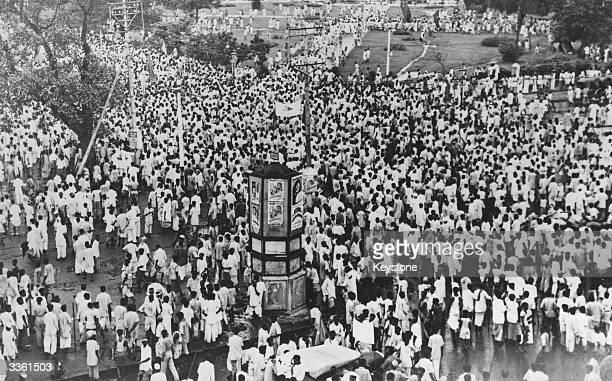 A section of the huge crowd which attended the Muslim League Direct Action Day meeting in Calcutta in protest against British Cabinet negotiations on...