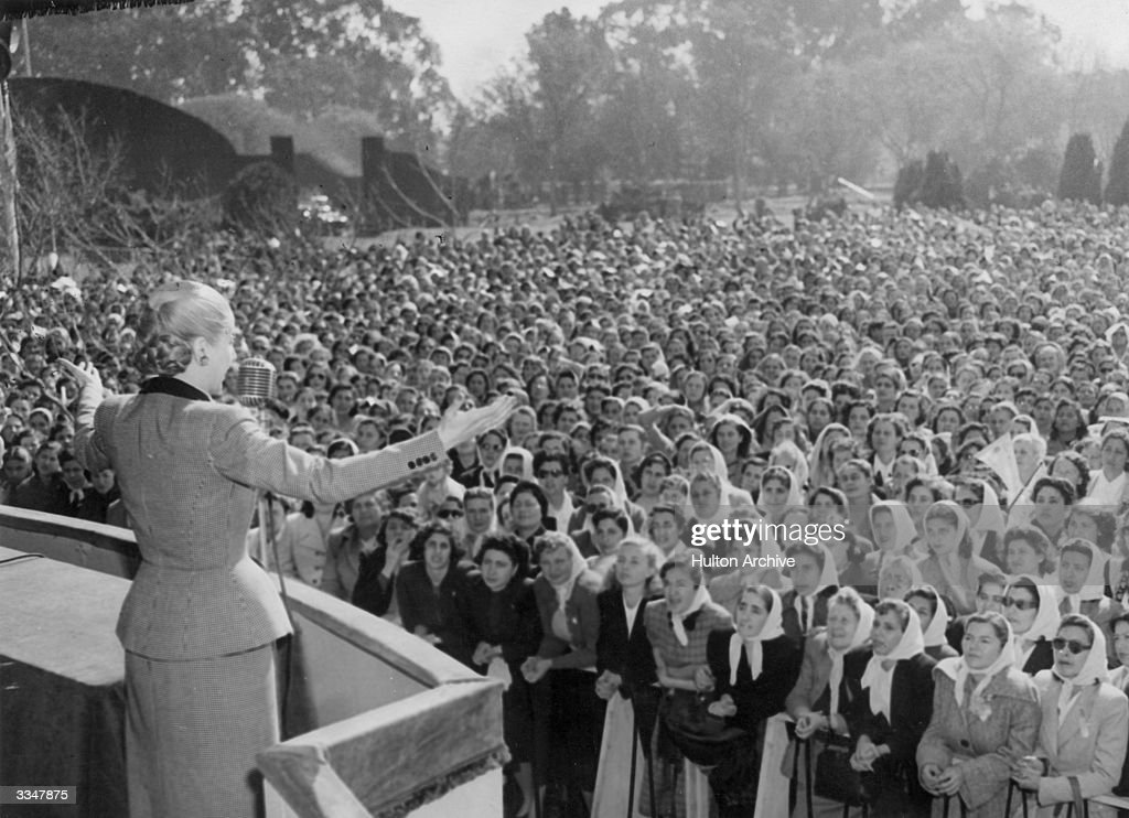 Eva Peron (1919 - 1952) who organised women workers and secured votes for women addresses a crowd of women.