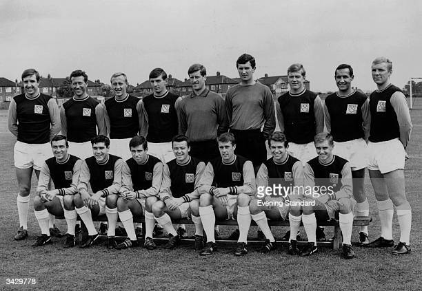 Members of the West Ham United football team including John Bond Ken Brown Martin Peters Jim Standen Edward Bovington Bobby Moore Alan Sealey Ronnie...