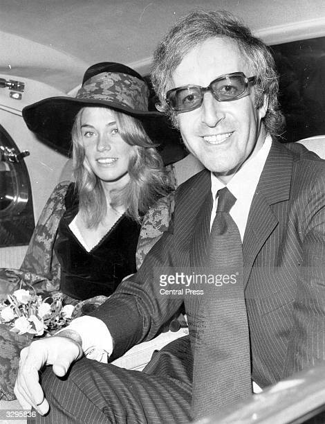 British comic actor Peter Sellers leaving Caxton Hall Registry Office with his third wife Miranda Quarry