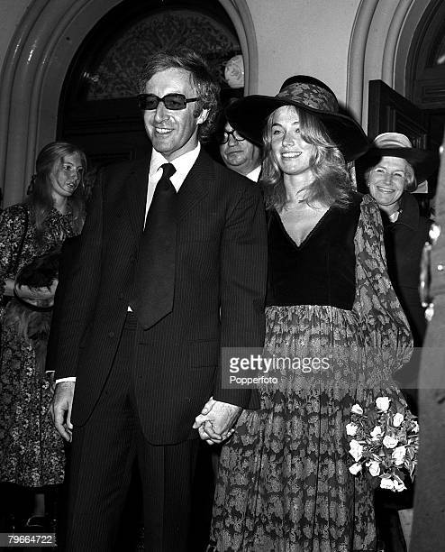24th August 1970 London England British comedian and actor Peter Sellers is pictured with his bride Miranda Quarry after they married at Caxton Hall