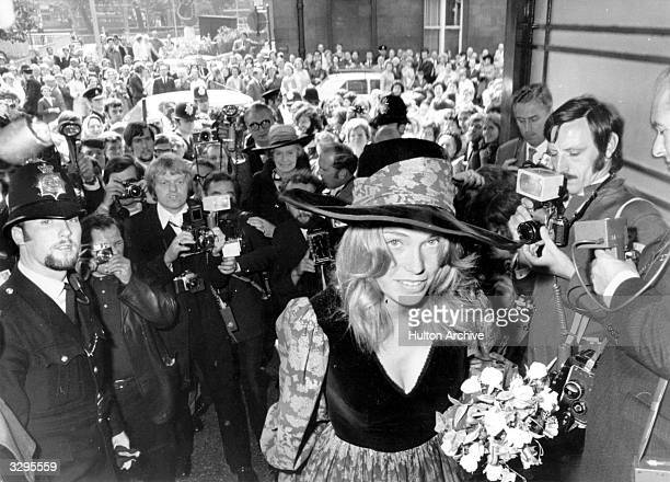Miranda Quarry, arriving at Caxton Hall Registry Office to marry Peter Sellers.