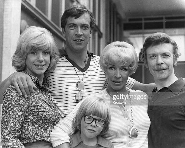 The cast of British television comedy series 'George And Mildred' From right to left Brian Murphy Yootha Joyce Nicholas Owen Norman Eshley and Sheila...