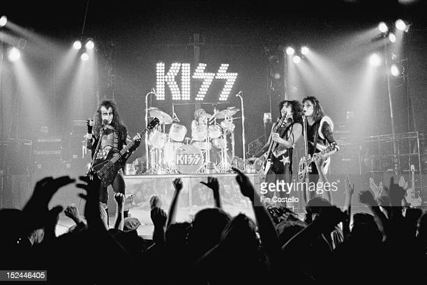 American rock band Kiss perform live on stage at the Calderone Theater in Hempstead New York during their Dressed To Kill tour on 24th August 1975...