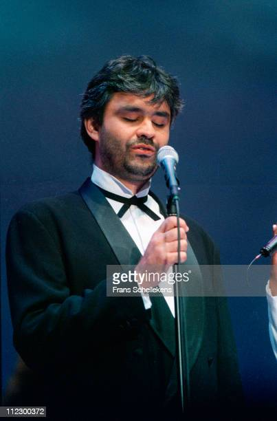 Andrea Bocelli performs live on stage at Amsterdam Arena in The Netherlands on 24th August 1996
