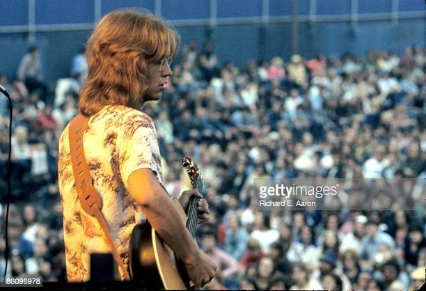 Gerry Beckley from folk rock band America performs live on stage in Central Park New York on 24th August 1975