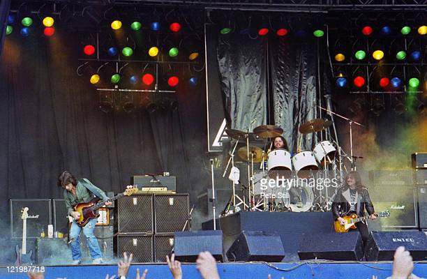 Welsh rock group Budgie perform live on stage at the Reading Festival in Reading England on 24th August 1980Left to Right Burke Shelley Steve...