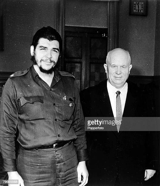 24th December 1960 Moscow Russia The Soviet Premier Nikita Krushchev is pictured with Cuba's Economic Official Ernesto 'Che' Guevara