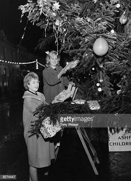 The Christmas tree in the High street at Ashford in Kent being decorated by two local women