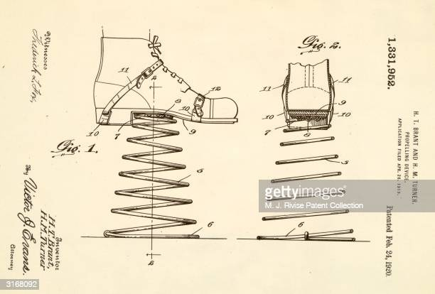 A simple propelling device consisting of a large spring attached to each shoe designed by Harry Brant and Henry Turner patent no 1331952