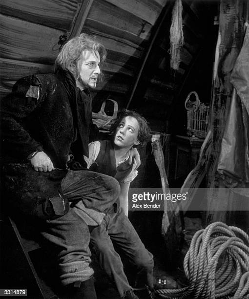Tenor Peter Pears plays Peter Grimes in a scene from the opera of the same name by Benjamin Britten at the Sadler's Wells Theatre London Original...