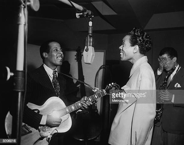 EXCLUSIVE LR Jazz vocalist Pete Tinney vocalist Babs Gonzales and alto saxophonist Rudy Williams during a jam session for Blue Note Records