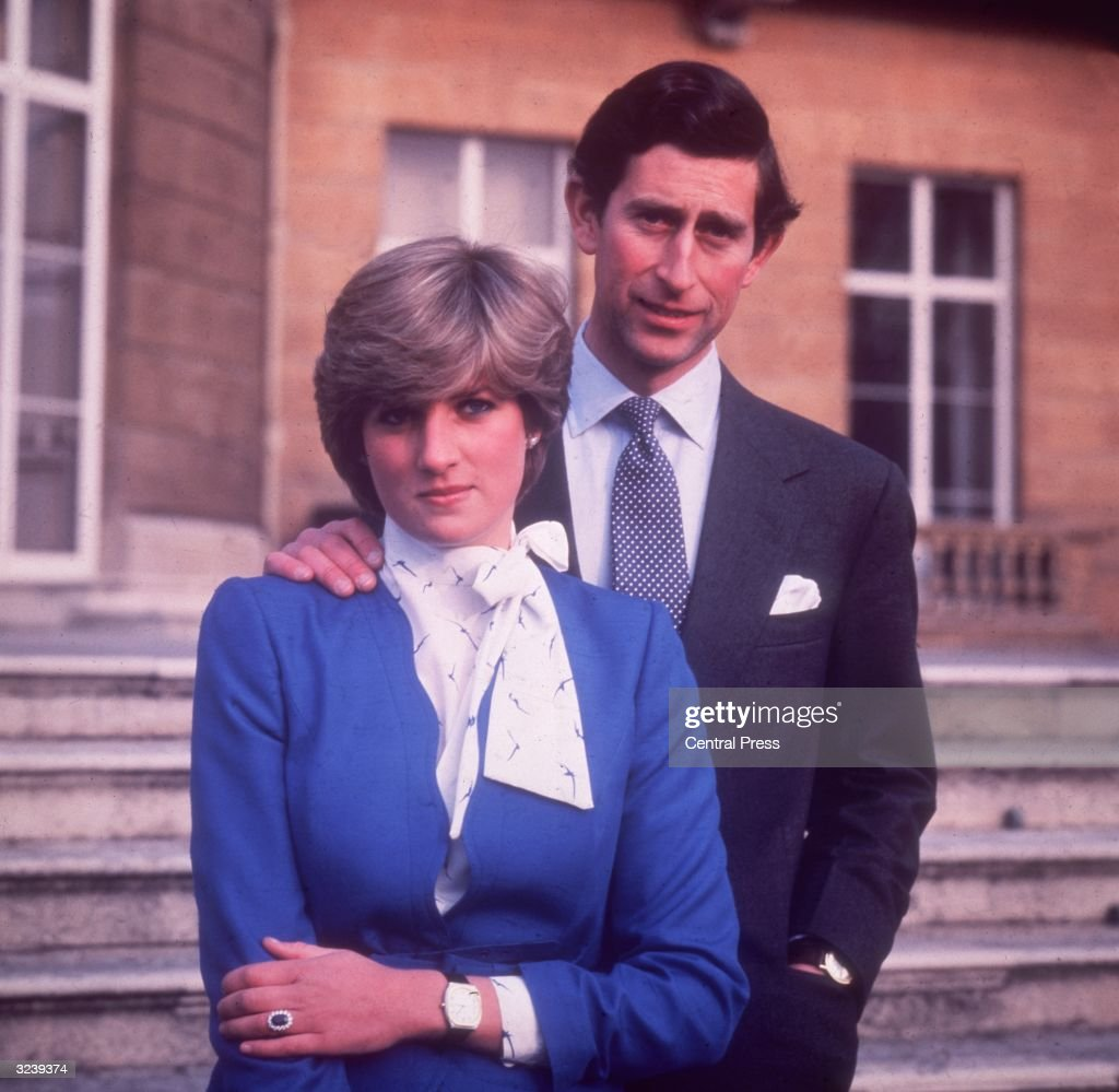 Charles, Prince of Wales, and Diana, Princess of Wales, (1961 - 1997) at Buckingham Palace in London on the occasion of their engagement.