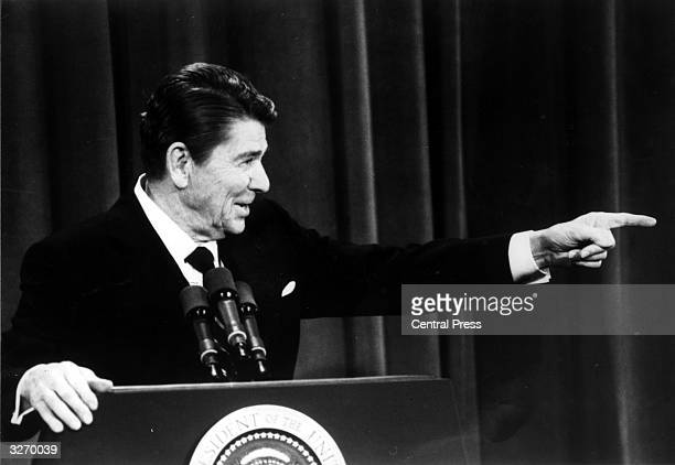 American Republican politician and 40th President of the United States Ronald Wilson Reagan at a press conference