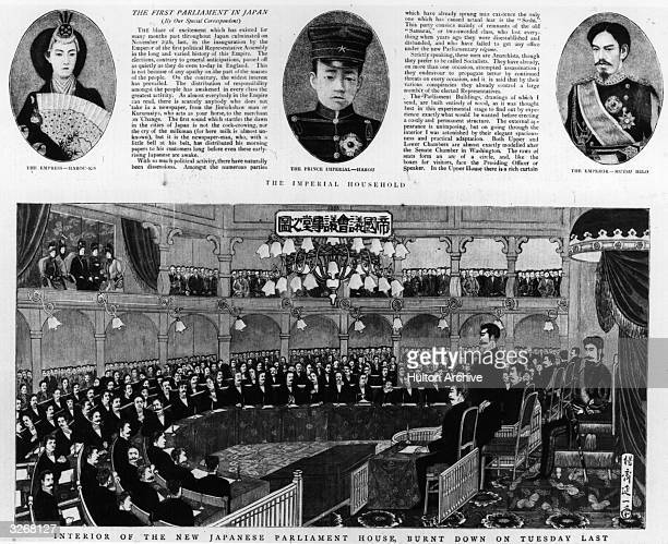 An illustration from 'The Graphic' showing the first Japanese Parliament in 1890 with Emperor Mutsuhito on the throne on the right The top of the...