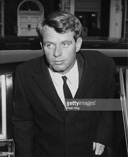 Robert Kennedy the Attorney General of the United States arriving at the home of Princess Lee Radziwill sister of Jackie Kennedy