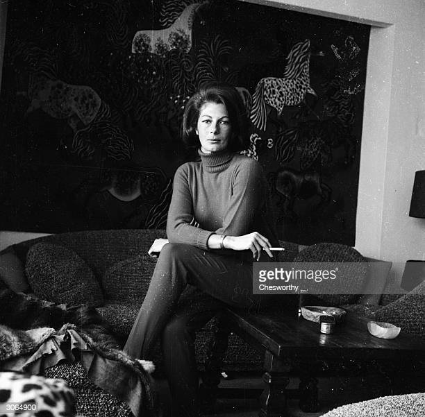Baroness Thyssen, who before her marriage was haute-couture model Fiona Campbell-Walter, relaxes at home.
