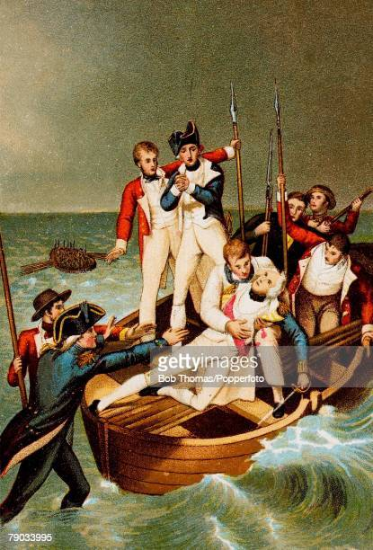 24th July 1797, Colour illustration, Military, Lord Nelson, , English Admiral, Illustration shows Sir Horatio Nelson wounded at Tenerife