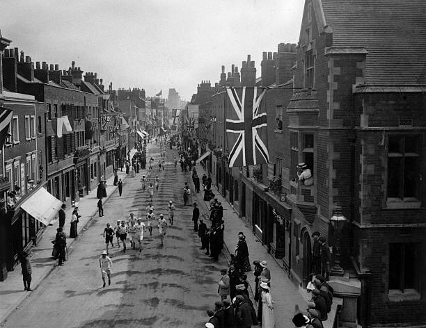 A general view of the Marathon event at the 1908 London...
